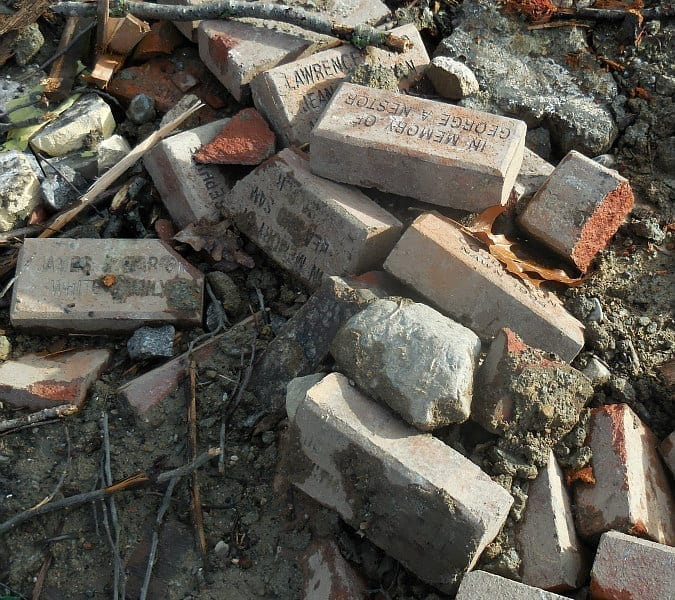 Quincy City Hall memorial bricks dumped into a landfill on Quincy hill